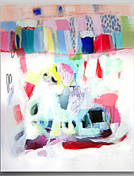 Hand Painted Oil Painting Abstract Pink House with Stretched Frame Ready to Hang