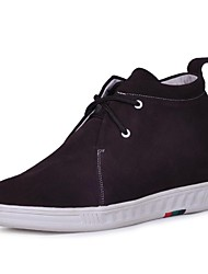Couro Suede Homens Wedge Heel Comfort Shoes Elevador