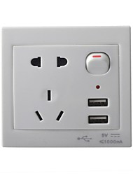 AC Power Socket with Switch Control / Dual-USB Socket Wall Panel - White (US & AU Plug)