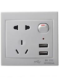 Prise secteur avec la commande de commutateur / double prise USB Panneau mural - Blanc (États-Unis et l'UA Plug)