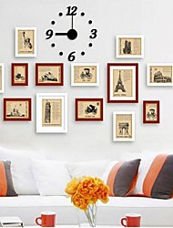 Frame Collection Marron Blanc Couleur mur Photo Set de 13 ans avec une horloge murale DIY