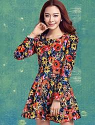 Gola redonda Vestidos Impressão Partido moda feminina