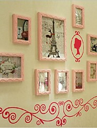 Pink Color Photo Frame Collection Set of 9 with Blue Wall Sticker