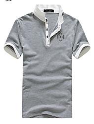 мужская воротник стойка груди эмблема поло футболки