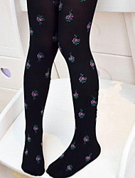 Girl's Small Flower Candy Color Pantyhose