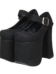 Couro Preto 15 centímetros Scrub Super Alta Plataforma clássico Lolita Microfibra PU sapatos de salto alto