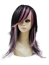 Capless High Quality Synthetic Black And Pink Mixed Long Natural Look Wave Wig