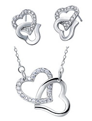 European Silver-Plated Silver With Cubic Zirconia Locked Heart Women's Jewelry Set(Including Necklace,Earrings)