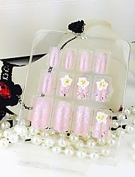 12PCS Weiße Rose Pink Acryl UV Gel falsche Nagel-Kunst mit Kleber