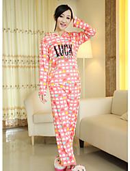 LYN Heart Printed Cotton Long-Sleeved One-Piece Sleepwear(Watermelon)