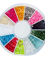 144PCS 12-Color 2mm Pequeño Nail Art granos de la bola Decotations