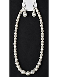 1Pc Stoneset Pearl Set(Necklace/Earring)