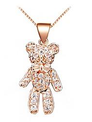Frauen 925 Sterling Silber Rose Gold Bären-Halskette