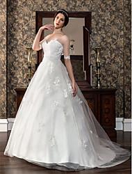 Vestido de Noiva - Marfim Trapézio Coração Cauda Corte Cetim/Tule Gravidez