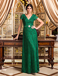 TS Couture Formal Evening / Military Ball Dress - Dark Green Plus Sizes / Petite A-line V-neck Floor-length Lace