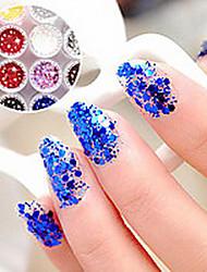 1PCS Hexagonal Glitter Tablets Decorações Nail Art NO.1-6 (cores sortidas)