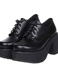 Lolita Shoes Classic/Traditional Lolita Lolita High Heel Shoes Solid 8 CM Black For Women PU Leather/Polyurethane Leather