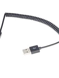 Спиральный USB 2.0 кабель для зарядки/ для передачи данных (1M, черный)