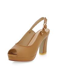 chunky talon Slingback sandales peep toe chaussures de femmes (plus de couleurs)
