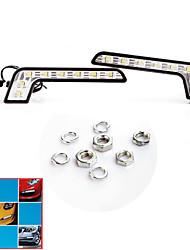 2 * Super Bright LED DRL Branco 8 carro de circulação diurna de condução de luz