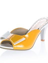 Patent Leder Damen Stiletto Slide Hausschuhe mit Bowknot Schuhe (weitere Farben)