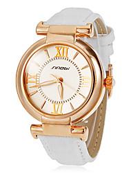 Simple cadran rond en cuir PU bande de quartz analogique montre-bracelet des femmes