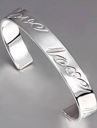 """Mode mot """"amour"""" Sculpture 20cm Argent plaqué Bracelet manchette des femmes (1 PC)"""