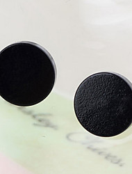 Classic Round Magnet Black Alloy Stud Earrings (1 Pair) Christmas Gifts