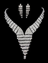 ME Vintage Luxury Austria Rhinestone Set Wedding Necklace And Earings Set T0013