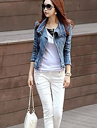 Women's Dismountable Collar Slim Long Sleeve Denim Blazer