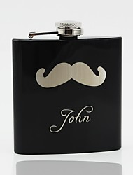 Gift Groomsman Personalized Black Stainless Steel 6-oz Flask - Beard