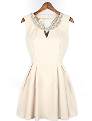 MFL Beads Slim Dress(White)