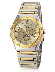 Men's Gold Dial Steel Band Quartz Wrist Watch Cool Watch Unique Watch