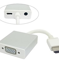Um Tipo de adaptador HDMI para saída VGA com Micro USB Power & Audio Video Para Projetor Monitor com Zine liga Shell