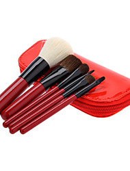 6PCS Wooden Handle Makeup Brush Set with Red Leatherette Pouch