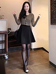 De las nuevas mujeres de la llegada Inglés Estilo Color Matching vestir de manga larga
