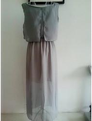 Ouman Women's Sleeveless Chiffon Solid Color Long Dress