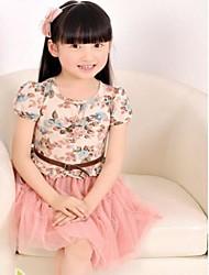 Collar de la impresión floral Ronda de vestido de niña de manga corta