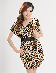 Yifan Frauen European Short Sleeve Leopard Taille Kleid (mit Gurt) (Screen Color)