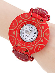 Women's Red Wood Case Elastic band kwarts armband horloge