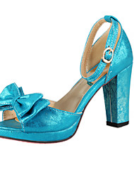 Leatherette Women's Chunky Heel Platform Sandals with Bowknot Shoes(More Colors)