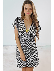 Glamour Girl Women's Europe Sexy Zebra Veins Beach Dress