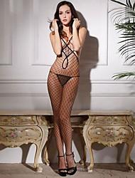 Recurso das Mulheres Jacquard Abrir Crotch Fishnet Lingerie com Panty