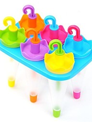 6 Cups Assorted Colored Umbrella Shape Popcicle Moulds Tray,  Food Safe PP Material, Random Color
