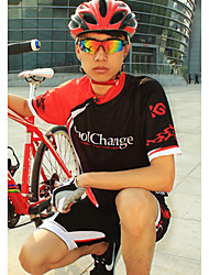 CoolChange Men's Cycling Suits Short Sleeve Bike Summer / Autumn / Spring Waterproof / Breathable / Quick Dry / Dust Proof / WearableRed
