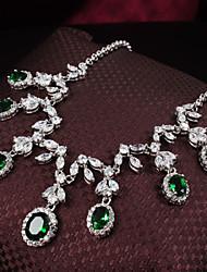 Conjunto de jóias Mulheres Presente / Festa / Ocasião Especial Conjuntos de Joalharia Liga Zircônia Cubica Colares / BrincosComo na