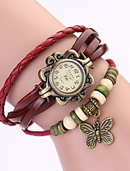 Koshi 2014 Women's Vintage Bow Leather Chain   Wristwatch (Red)