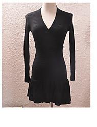 JJE Women's Long Sleeve V-Neck Bodycon Dress (Black)