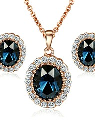 New Arrival 18K Rose Gold Plated Austria Crystal Sapphire Blue Stone Pendant Necklace Earrings set