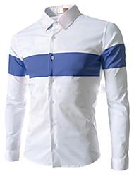 Herren Hemd-Einfarbig Freizeit Baumwolle Lang Blau / Orange